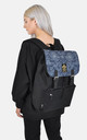 Ornate denim panel laptop backpack by The Left Bank