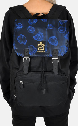 Blue on blue roses laptop backpack by The Left Bank
