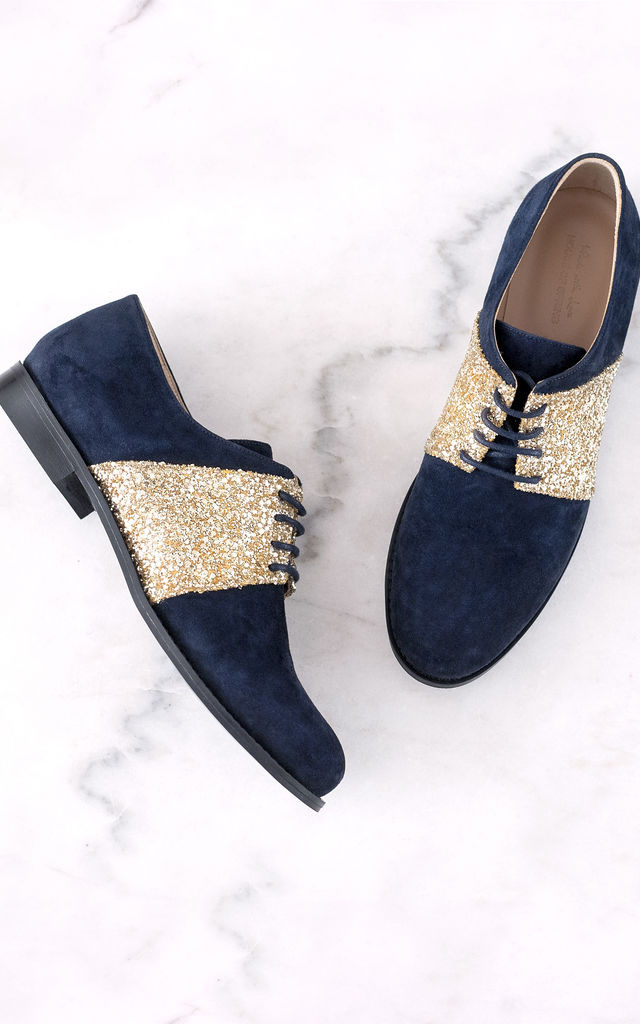 Navy Brogues with Gold Sparkle by House of Spring