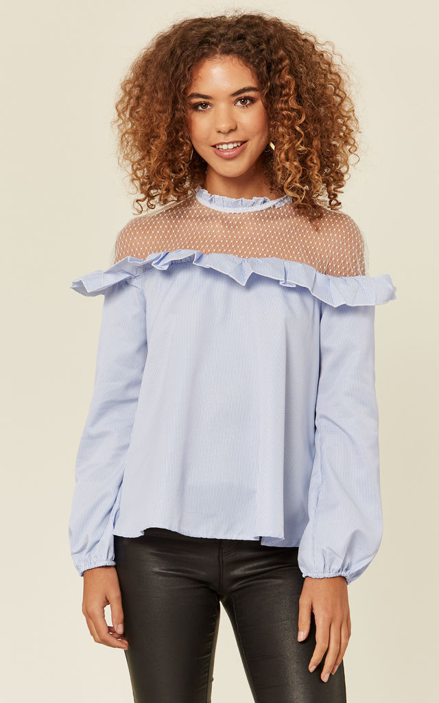 Pastel Blue Mesh Blouse by Oeuvre