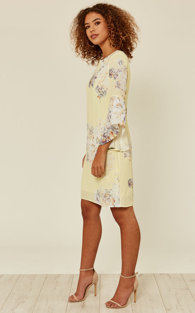 Shift Floral Dress - Yellow by Zibi London