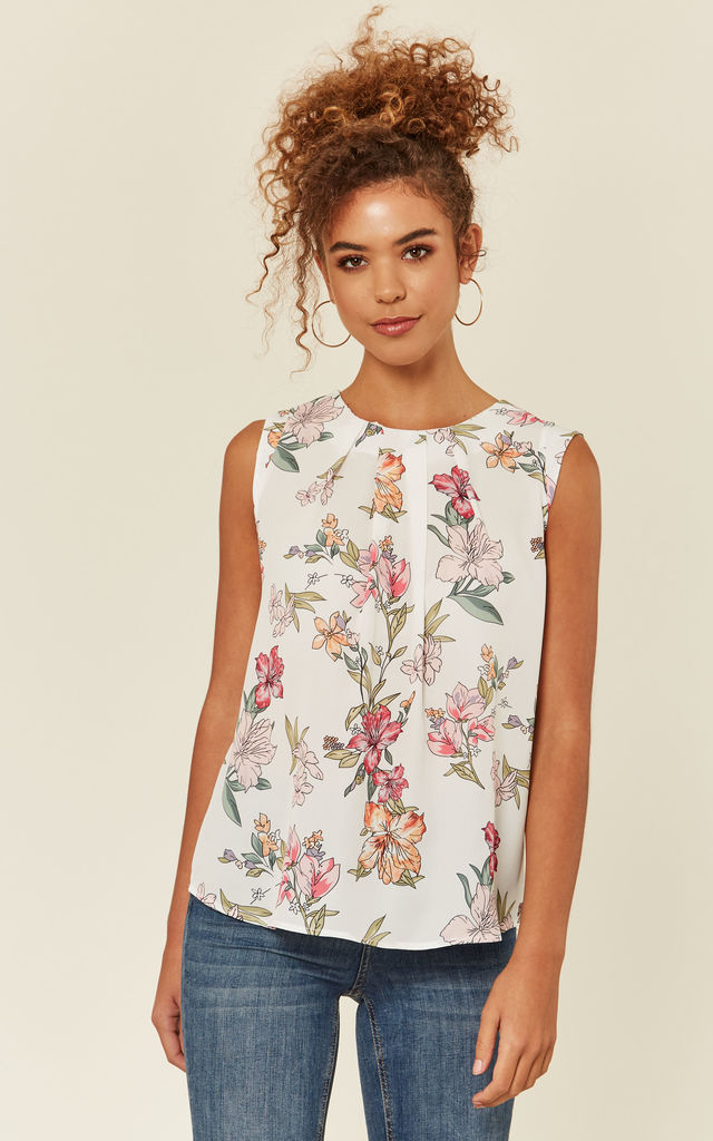White Floral Casual Blouse by Zibi London