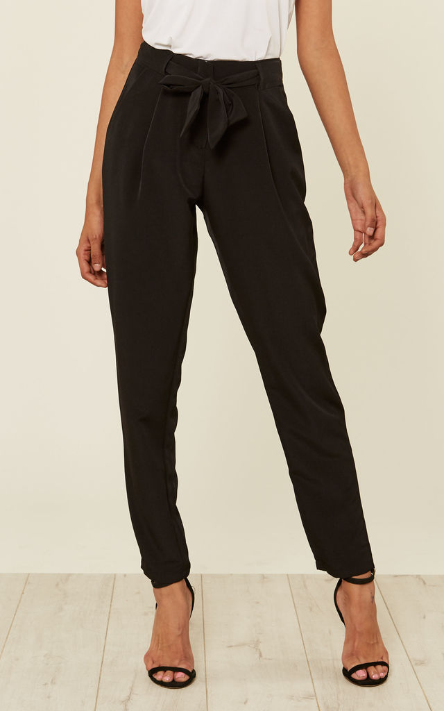 Belted Trousers in Black by Zibi London