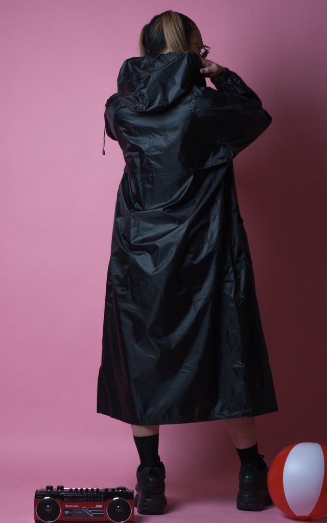 Lady In Black Maxi Waterproof Coat by CustomRare