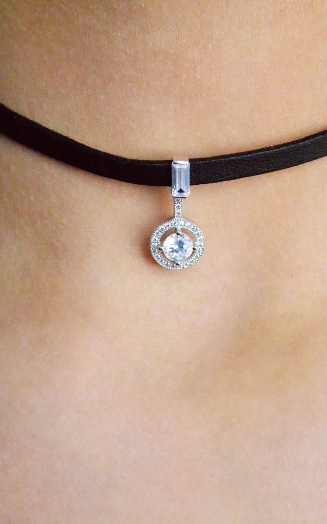 Black Choker Necklace with Sterling Silver Sparkly Charm by Kusuz Silver Jewellery