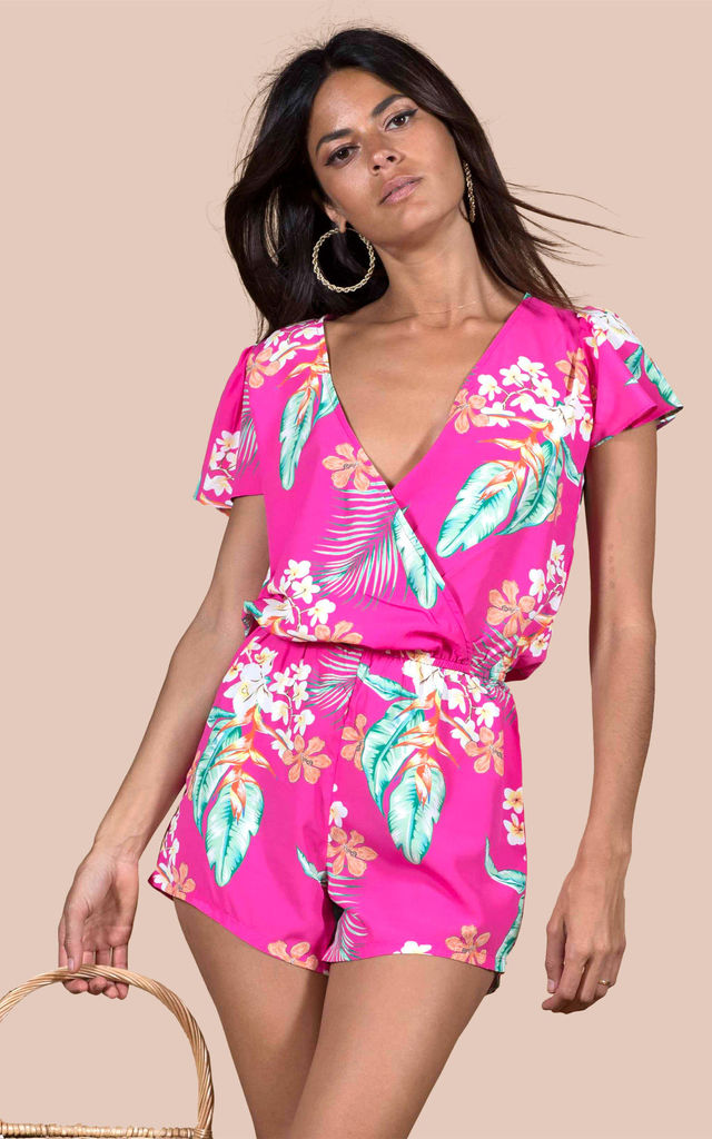 Rio Playsuit in Cerise Tropical image