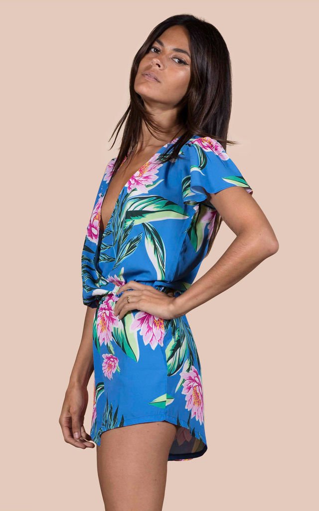 Rio Playsuit in Blue Lotus Tropical image