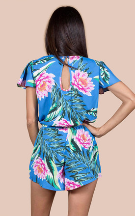 Rio Playsuit in Blue Lotus Tropical by Dancing Leopard