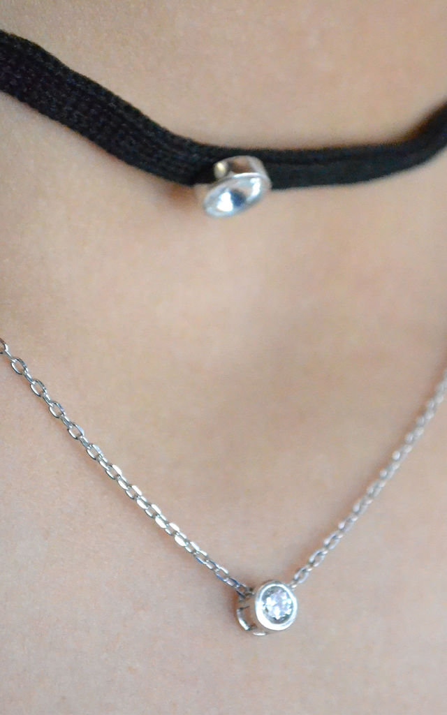 Sterling Silver Double Layer Chain and Choker Necklace by Kusuz Silver Jewellery