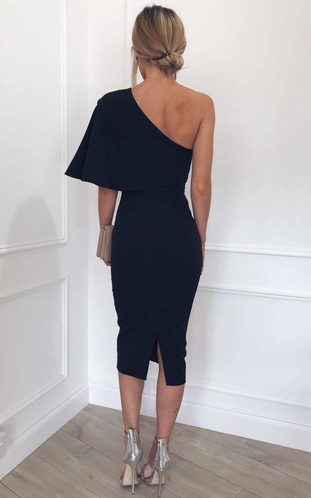 Sienna Midi Bodycon Dress - Black by Pretty Lavish