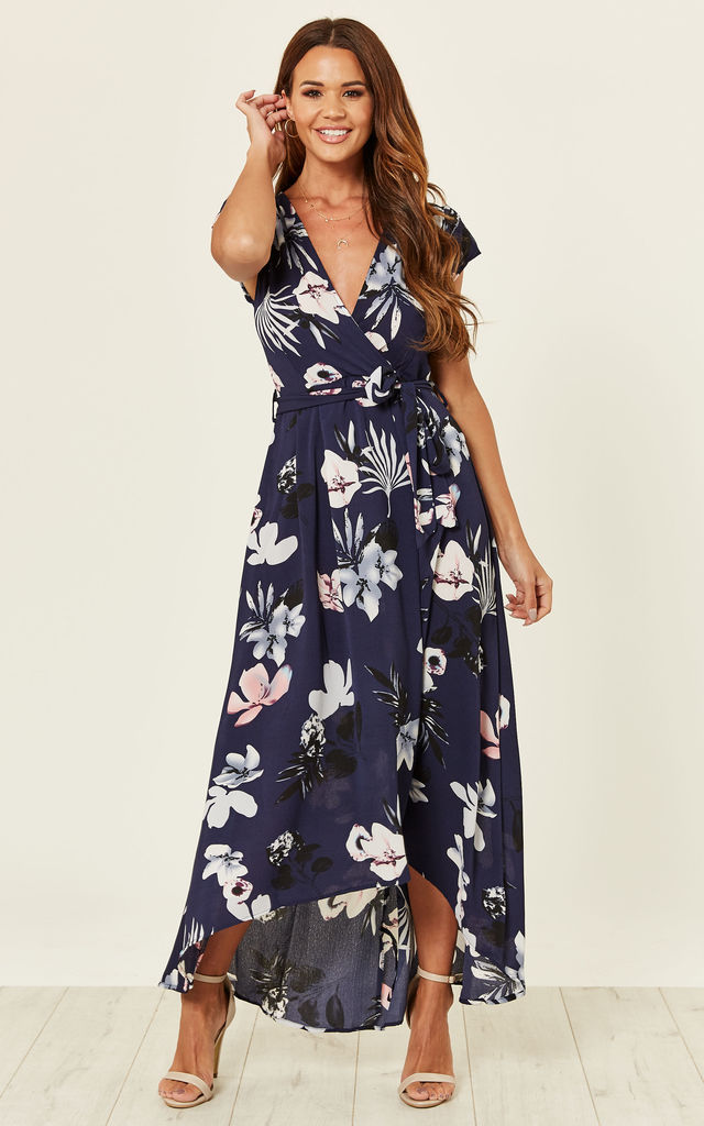 da2583ea87b0 Navy Floral Maxi Wrap Dress | AX Paris | SilkFred