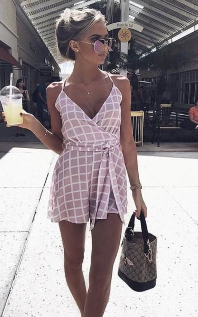 Grid Check Tie Detail Playsuit - Lilac by AJ | VOYAGE
