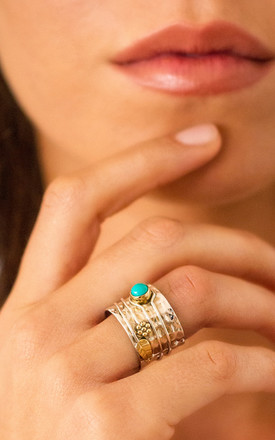 Turquoise Secret Garden Silver Gemstone Ring by Charlotte's Web