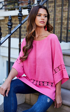 Cerise Oversized Crochet Detail Top by Bella and Blue Product photo