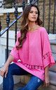 Cerise oversized crochet detail top by Lilah Rose