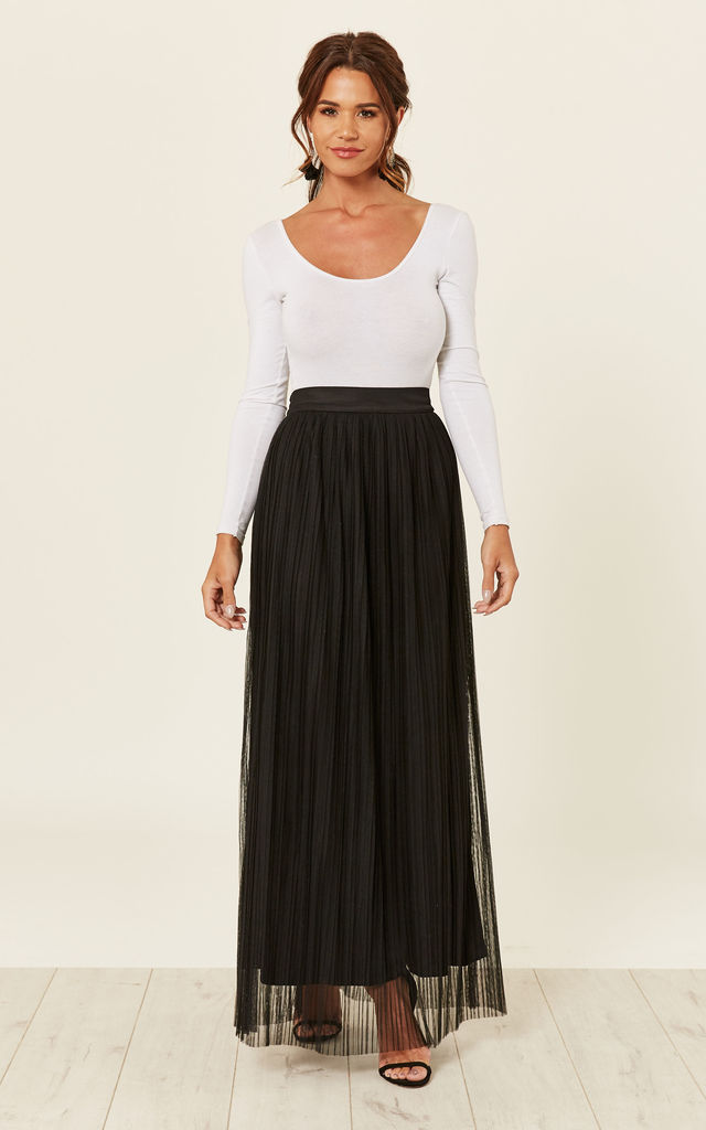 17ca13819c Kimberly Pleated Maxi Skirt (Black) | Lace & Beads | SilkFred