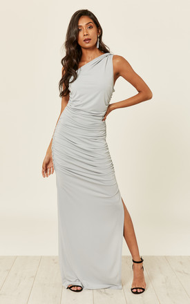 Angelina Dove Grey One Shoulder Maxi Bridesmaid Dress by Revie London Product photo