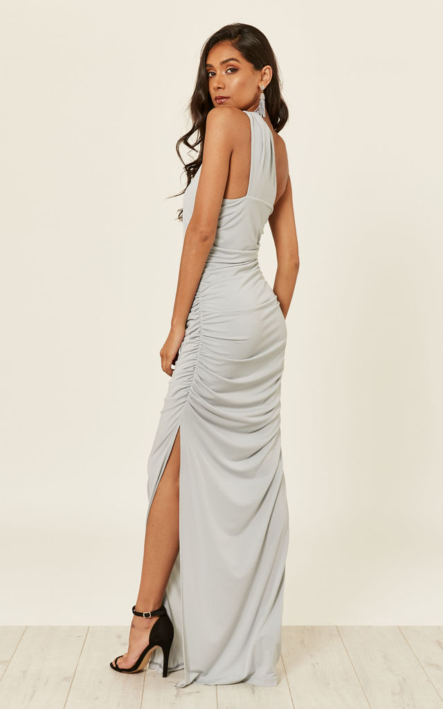 ANGELINA DOVE GREY one shoulder maxi bridesmaid dress by Revie London