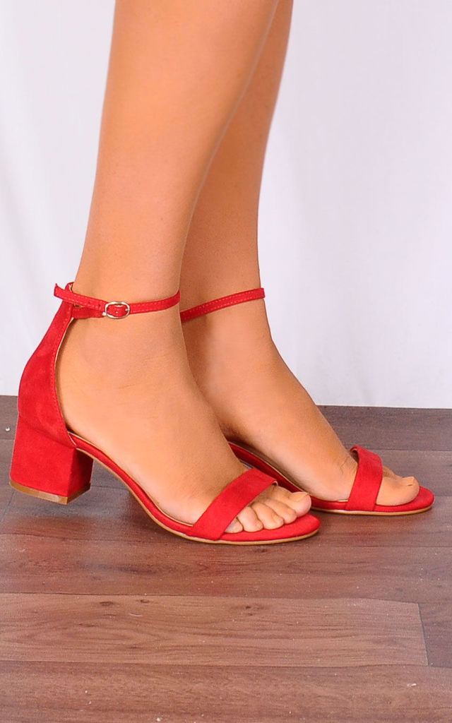Red Low Heeled Ankle Strap Peep Toes Strappy Sandals by Shoe Closet