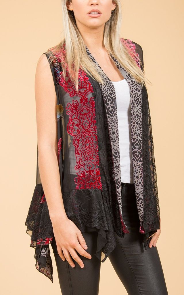 Silk devore waistcoat with lace trim. by Spiritual Hippie