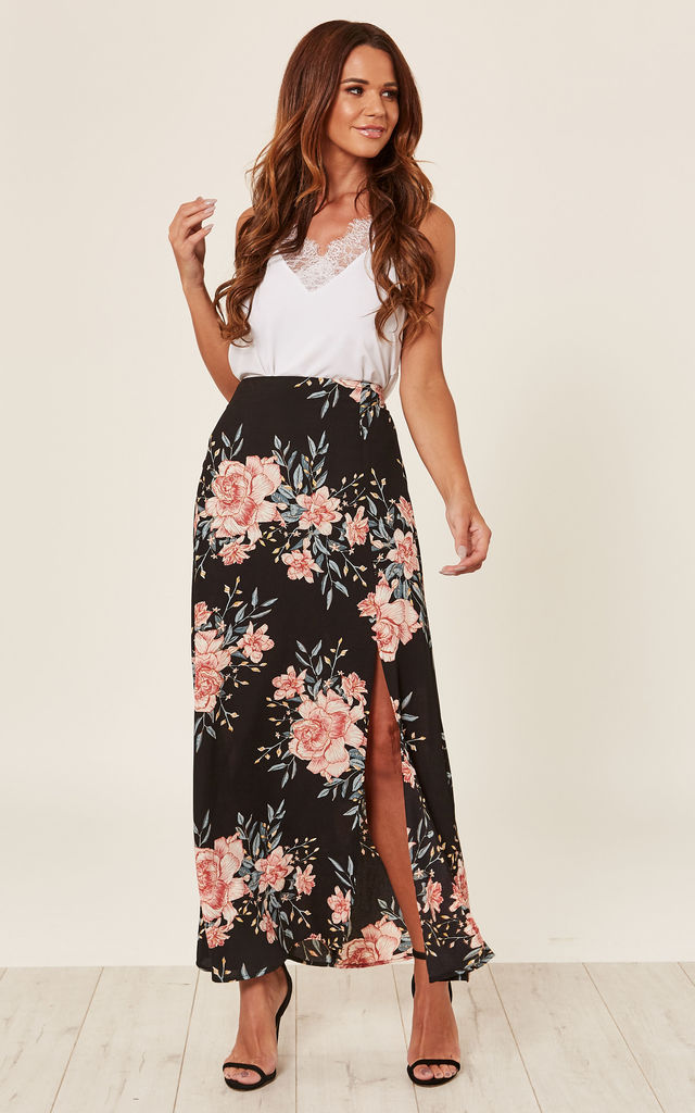 Black Floral Print Midi Skirt by ANGELEYE