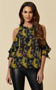 Wisteria Cold Shoulder Top in Yellow & Black by Once Upon a Time
