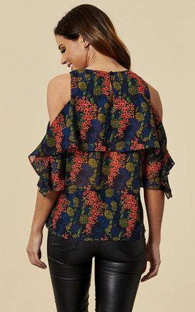 Wisteria Cold Shoulder Floral Blouse in Navy & Red by Once Upon a Time