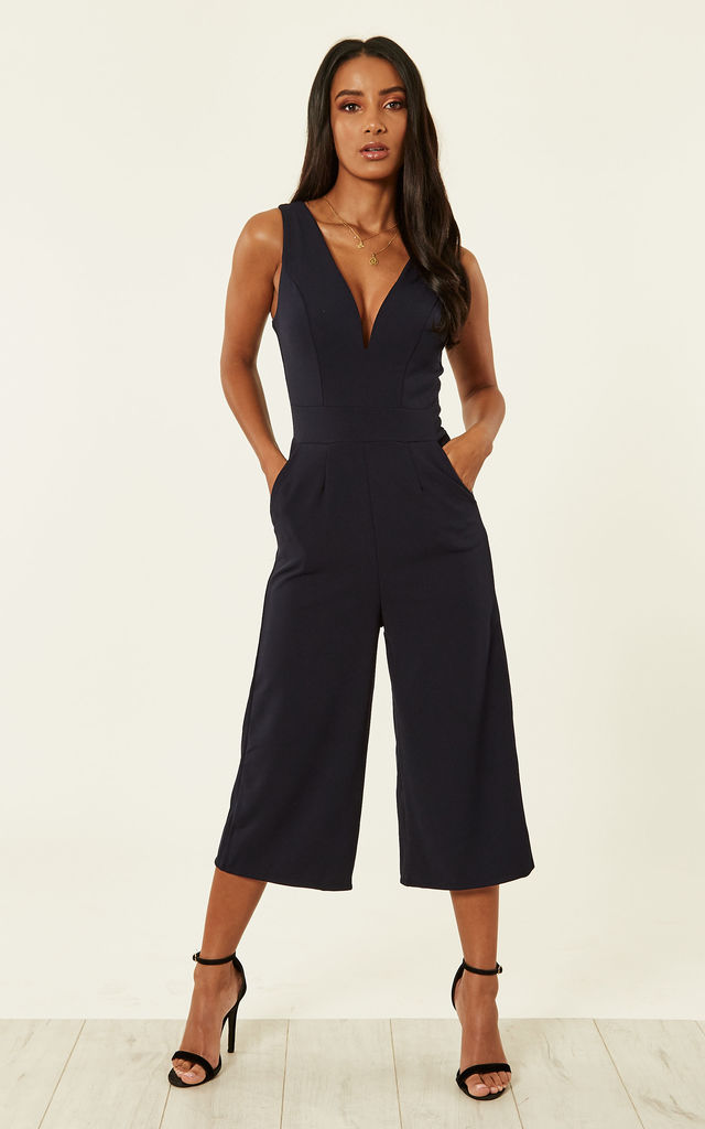 CIANA PLUNGE NECK CULOTTES IN BLACK by WalG