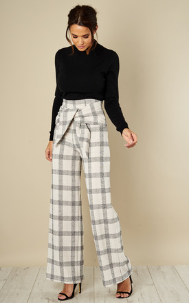 Ivory Check Tie Front Trouser by Love