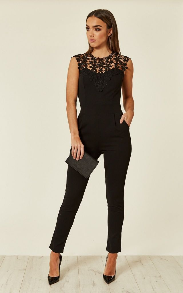 PRETTY CONTRAST LACE JUMPSUIT IN BLACK by WalG