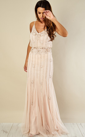 Keeva Maxi Bridesmaids Wedding Dress (Nude) by Lace & Beads Product photo
