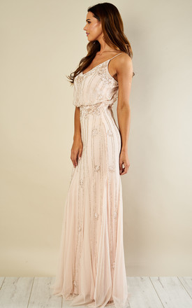 Keeva Maxi Bridesmaids Wedding Dress (Nude) by Lace & Beads
