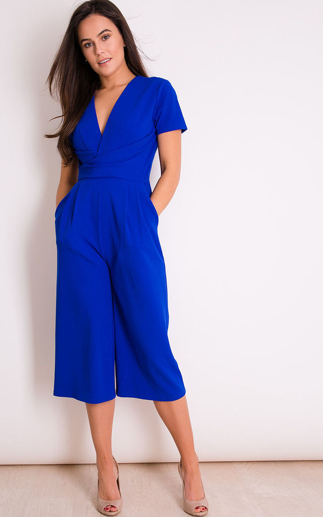 Megan Short Sleeve Culotte Jumpsuit Cobalt by Girl In Mind