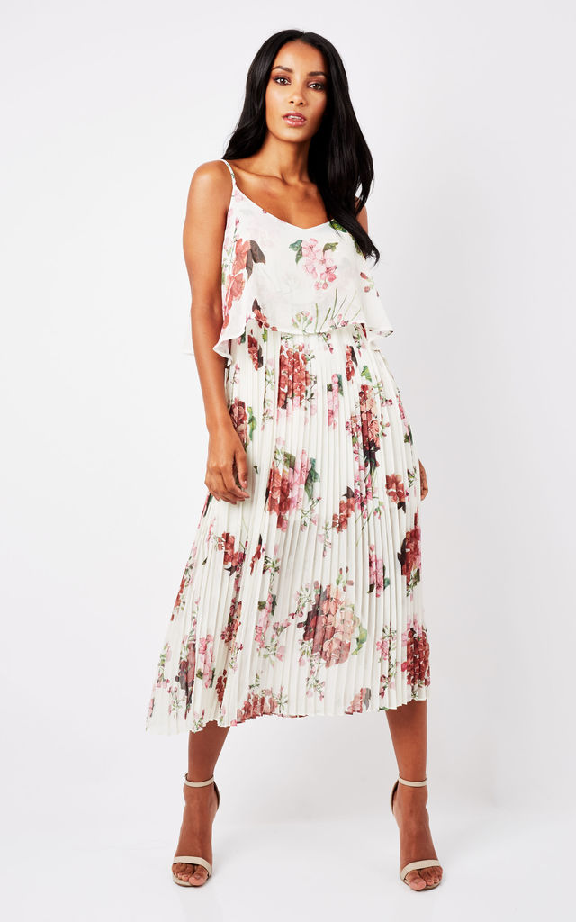 White Floral Print Pleated Cami Midi Dress by URBAN TOUCH