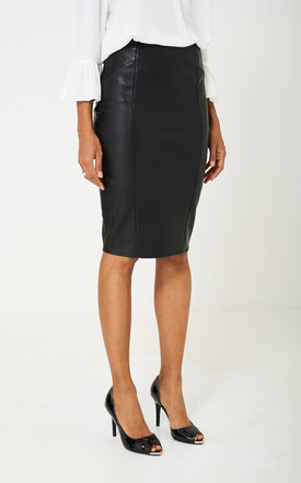 Black Leather Midi Skirt by Cool Coco Product photo