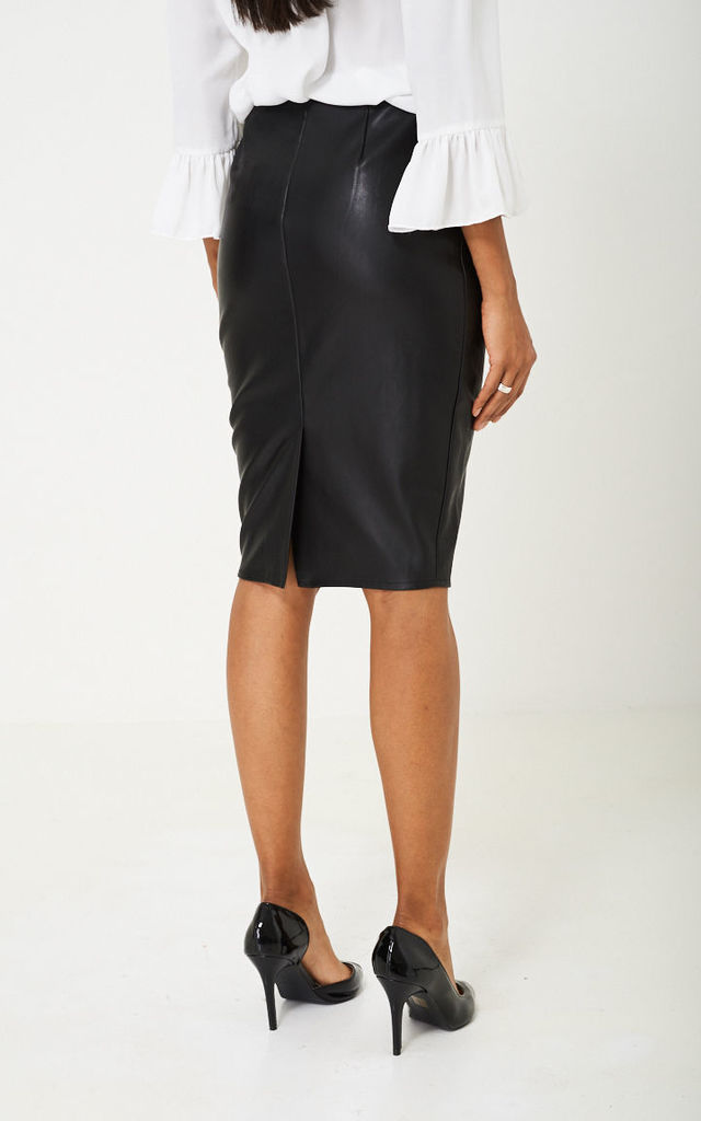 Black Leather Midi Skirt by Cool Coco