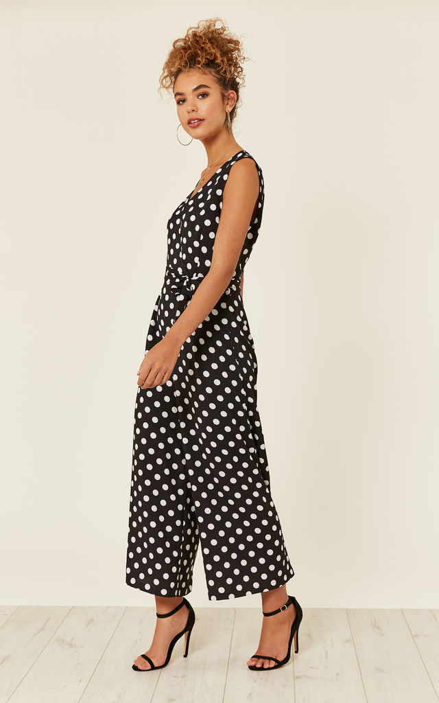 UNIQUE21 Black Polka Dot Culotte Jumpsuit by UNIQUE21