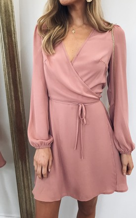 Esme Wrap Tie Waist Dress   Pink by Pretty Lavish Product photo