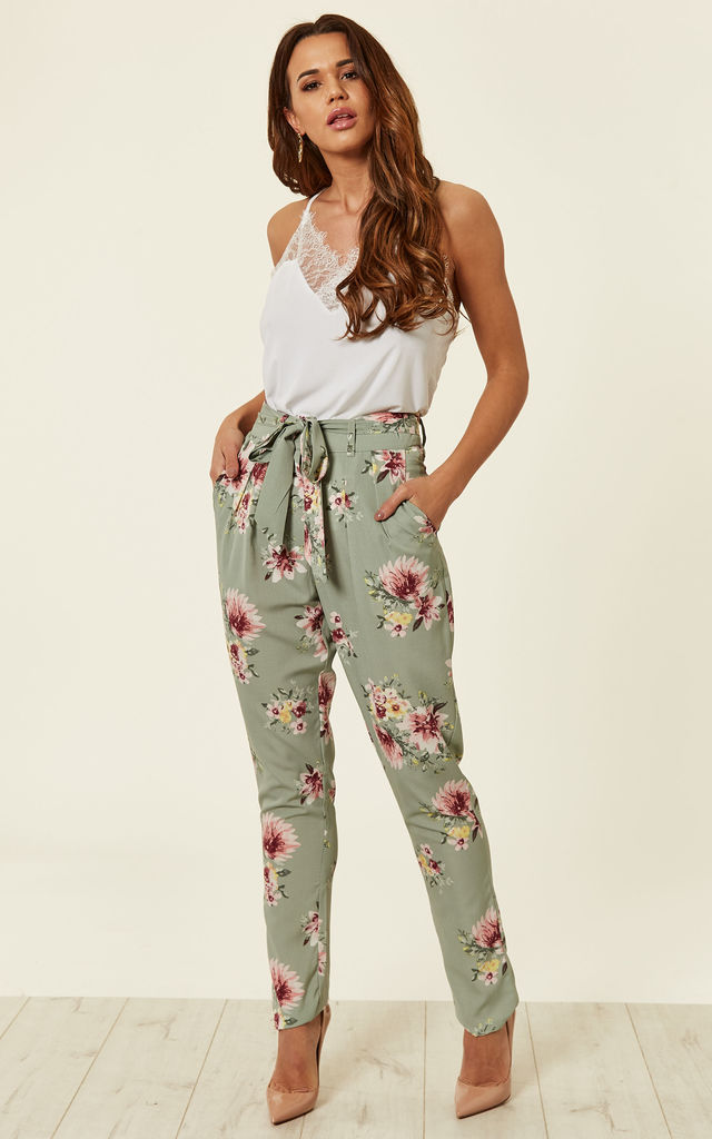 Mint Printed Floral Crepe Trouser by MISSI LONDON