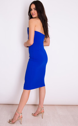Kendall Knot Front Strapless Midi Dress Cobalt by Girl In Mind
