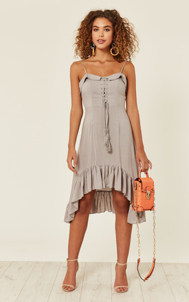 Grey Waterfall Hem Midi Dress by Oeuvre Product photo