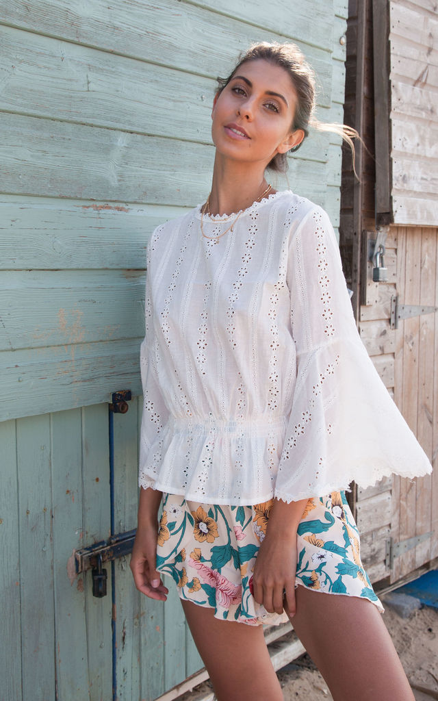 White Broderie Anglaise Cotton Flare Sleeve Top by Styled In London