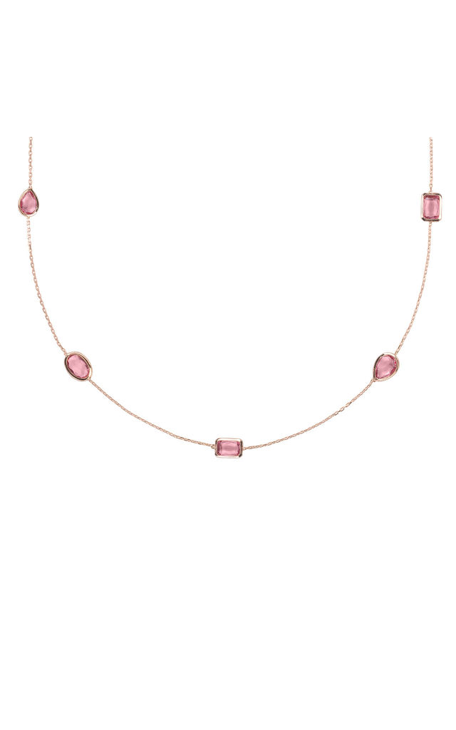 Venice 120cm Long Chain Necklace Rose gold Pink Tourmaline by Latelita