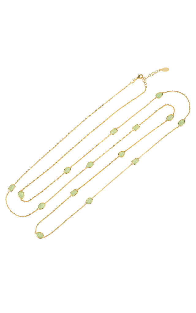 Venice 120cm Long Chain Necklace Gold Aqua Chalcedony by Latelita
