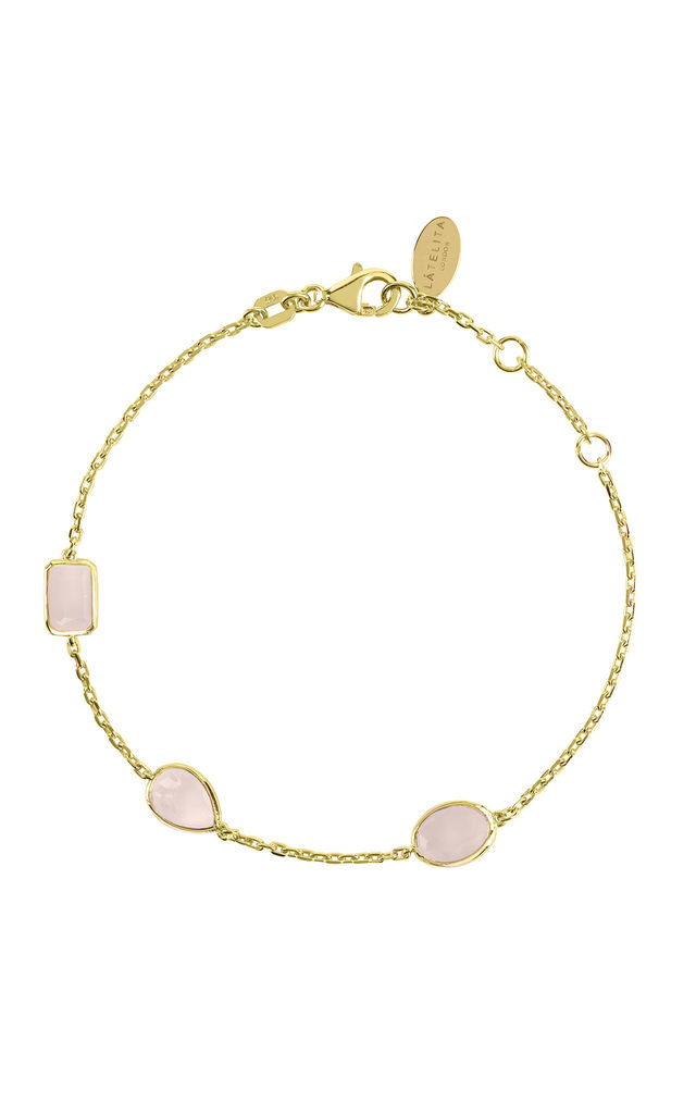Venice Bracelet Gold Rose Quartz by Latelita London