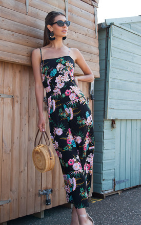 Black/Floral Tie Back Culotte Jumpsuit by Styled In London