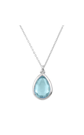 Pisa Silver Necklace With Mini Teardrop Blue Topaz by Latelita Product photo