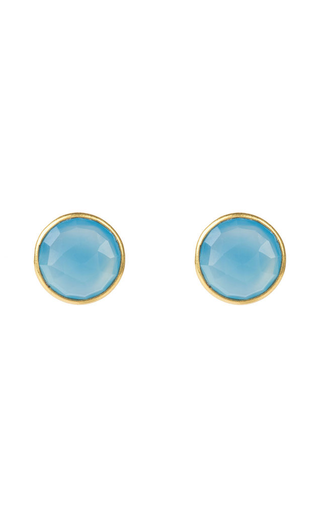 Medium Circle Stud Gold Blue Chalcedony by Latelita London