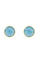Medium Circle Gold Stud Earrings with Blue Chalcedony by Latelita
