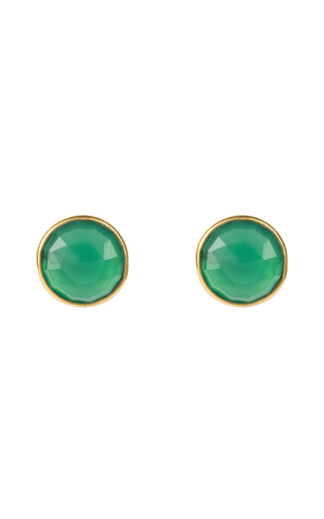 Medium Circle Stud Gold Green Onyx by Latelita London